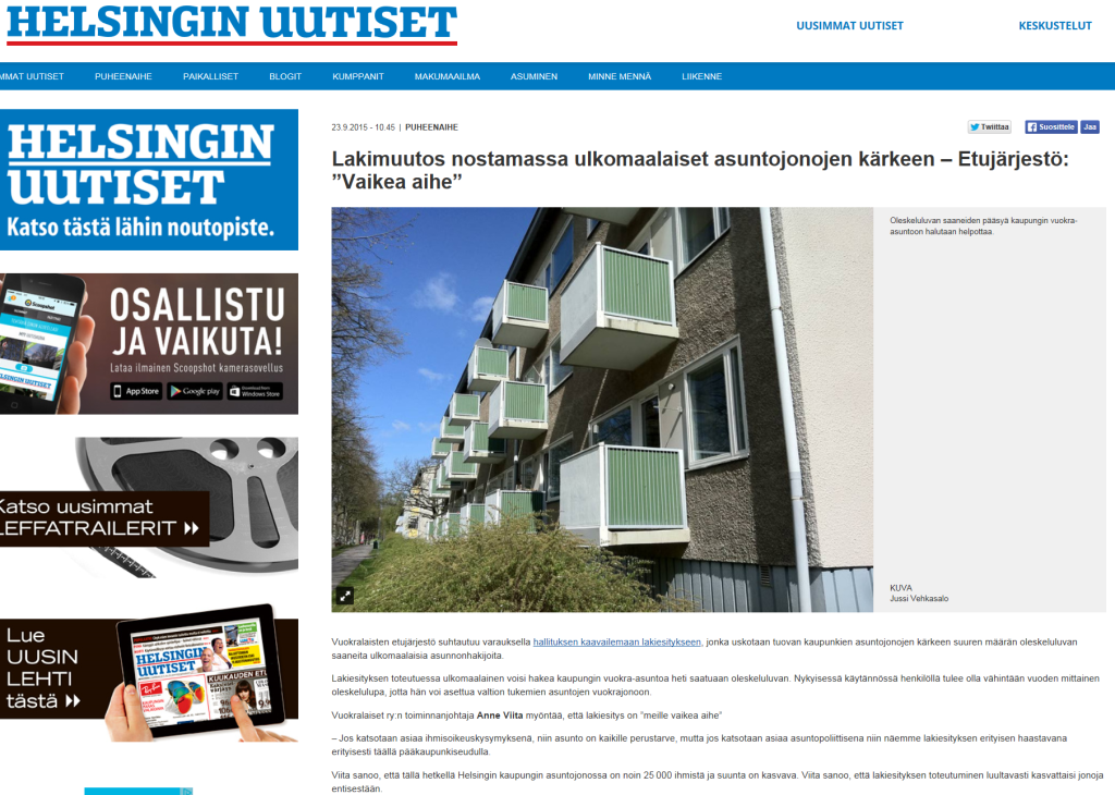Helsingin Uutiset 23.9.2015