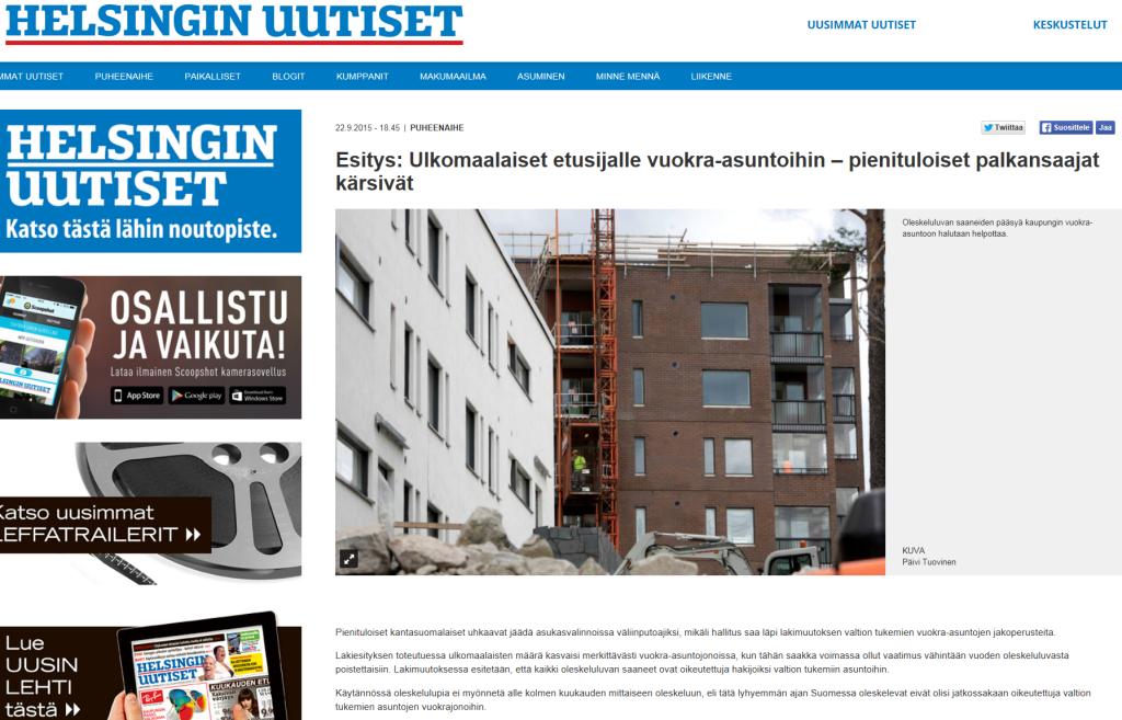 Helsingin Uutiset 22.9.2015