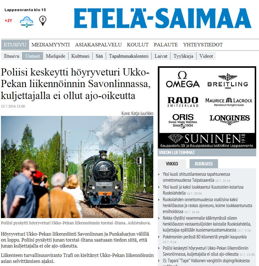 Etelä-Saimaa 15.7.2016